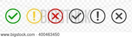 Check Mark Icons. Modern Label Icons Check Mark On Transparent Background. Tick Sign, Exclamation Ma