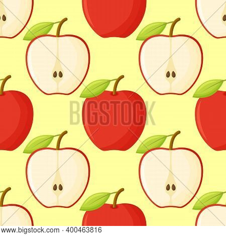 Red Apples Pattern Tile. Repeating Print. Perfect For Back To School Or Apple Picking Or Food Packag