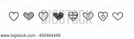 Heart Icons Doodle. Hand Drawn Icons. Hand Drawn Marker Hearts Isolated On White Background. Vector