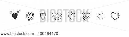 Heart Icons Set. Hand Drawn Hearts. Hand Drawn Icon Hearts Isolated On White Background. Vector Illu