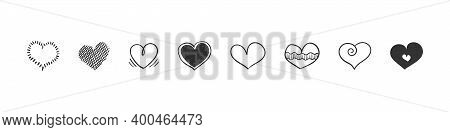 Heart Icons Set. Hand Drawn Hearts. Hand Drawn Icon Hearts Isolated On White Background. Trendy Desi