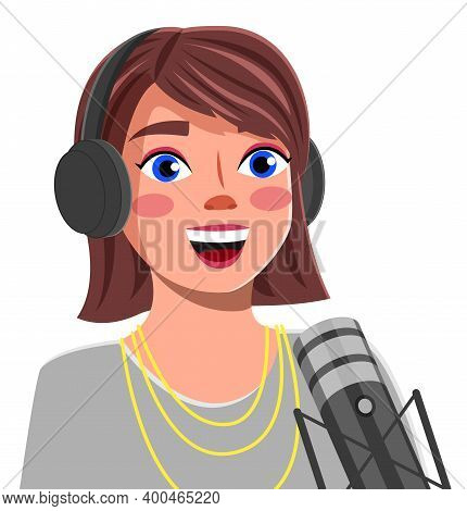 Young Girl With Headphones Singing A Song Or Talking To A Microphone Vector Illustration. Recording
