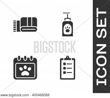 Set Grooming Salon Price List, Towel Stack, Calendar Grooming And Pet Shampoo Icon. Vector