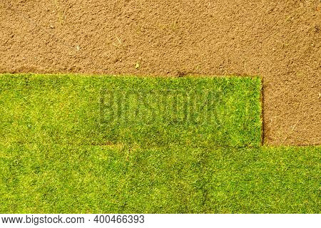 Gardening. Laying Sod For The New Lawn. Applying Turf Carpet In The Backyard. Aerial View.