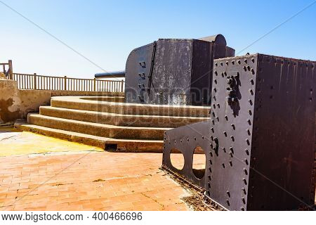 Battery Castillitos By Coast Of Mediterranean Sea. Tourist Place Near City Cartagena Murcia Region,