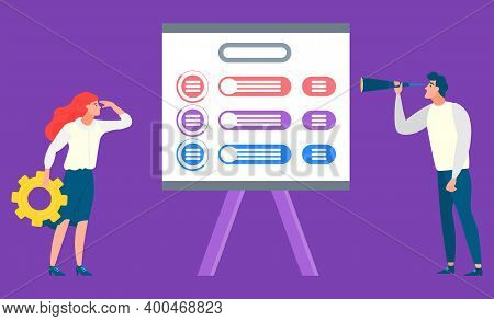 People Looking At Whiteboard With Schemes Vector, Man And Woman With Tools Examining Charts And Info
