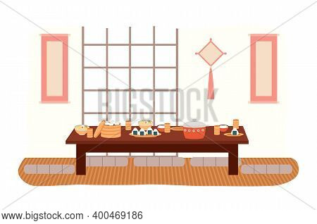 The Dining Room In Oriental Style Flat Vector Illustration. Dining Table With Sushi And Manti. Furni
