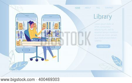 Online Library Internet Service For Education Landing Page. Young Woman Wearing Headphones Listening