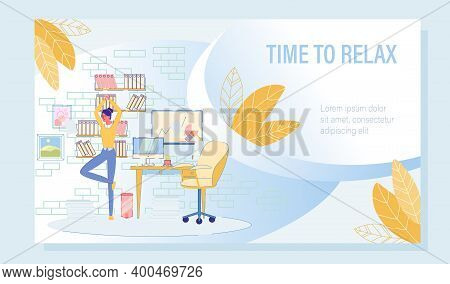 Stress Relief And Muscle Tension Reduce At Workplace Motivation Poster. Woman Manager Worker Doing Y