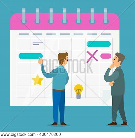Office Worker Characters Discussing Operating Schedule. Businessman Check The Planned Calendar. Busi