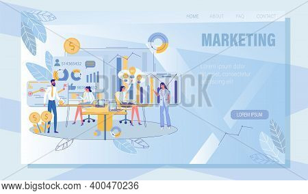 Marketing Searching, Planning, Strategy And Development. Online Service Landing Page With Analytics