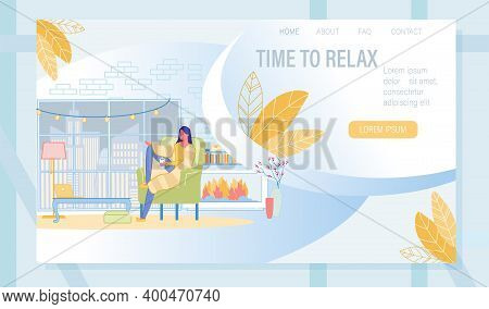 Landing Page With Woman Enjoying Window Cityscape View Rest With Cup Of Coffee Or Tea In Cozy Living