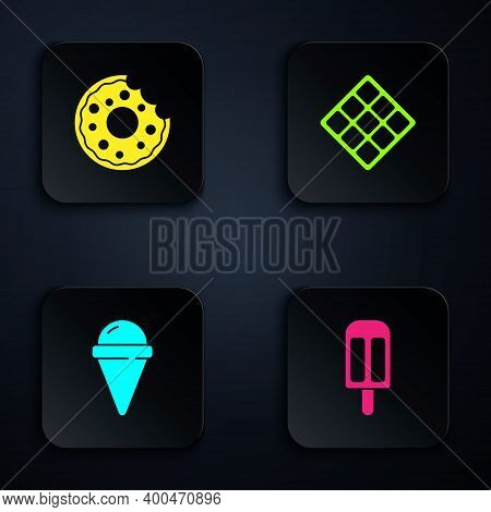 Set Ice Cream, Donut, In Waffle Cone And Waffle. Black Square Button. Vector