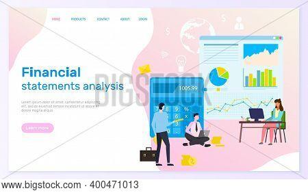 Landing Page Of Financial Site. Financial Statements Analysis, Man Sitting With Laptopp, Big Cartoon