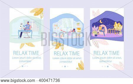 Relax Time Mobile Onboard Page Set With Happy People On Screen. Woman And Man Character Rest At Home