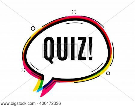 Quiz Symbol. Speech Bubble Vector Banner. Answer Question Sign. Examination Test. Thought Or Dialogu