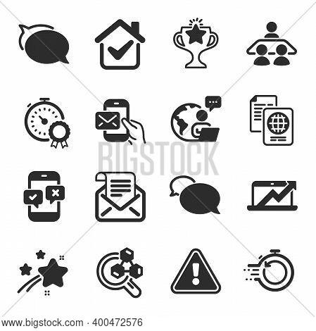 Set Of Education Icons, Such As Chemistry Lab, Sales Diagram, Messenger Symbols. Victory, Passport D