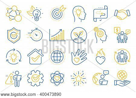 Core Values Line Icons. Integrity, Target Purpose And Strategy. Trust Handshake, Social Responsibili