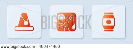 Set Firework Rocket, Christmas Santa Claus Hat And Beer Can. White Square Button. Vector