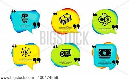 Networking, Loyalty Points And Dollar Icons Simple Set. Speech Bubble With Quotes. Vip Shopping, Bit