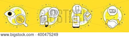 Smartphone Sms, Bitcoin Pay And Refrigerator Line Icons Set. Licence, Cell Phone And Deal Vector Ico