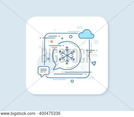 Snow Weather Forecast Line Icon. Abstract Square Vector Button. Winter Snowflake Sign. Air Condition
