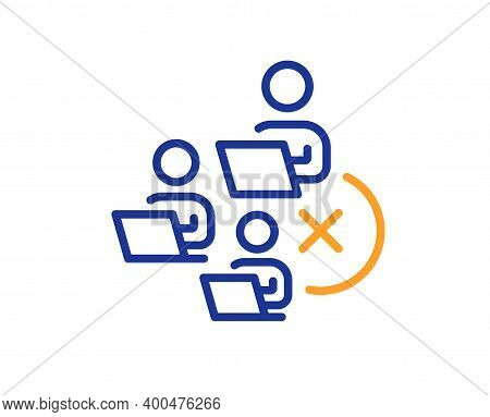 Remove Team Line Icon. Teamwork Sign. Remote Team Employees Symbol. Quality Design Element. Line Sty
