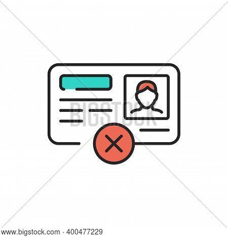 Passport Illegal Immigrant Color Line Icon. Editable Stroke.