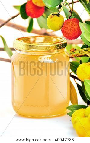 arbutus honey  with fruits on a white background poster