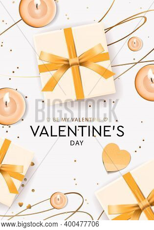 Valentines Day Design. Gifts Boxes, Candles. Holiday Banner, Web Poster, Flyer, Greeting Card, Cover