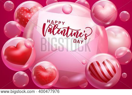 Valentine's Day Vector Background Design. Happy Valentine's Day Typography Text In Greeting Card Wit