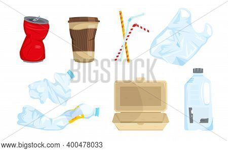 Garbage Types Set. Can, Plastic Waste, Bottles, Bag, Sipping Straws, Disposable Tableware. The Most