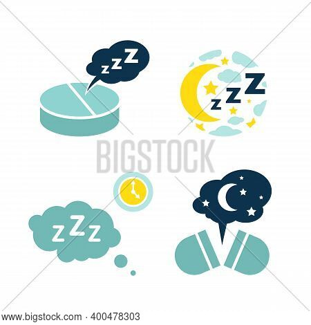 Insomnia Pill Icons Set. Sleeping Problems Sign. Sleeping Disorder, Nightmare, Sleeplessness Pictogr