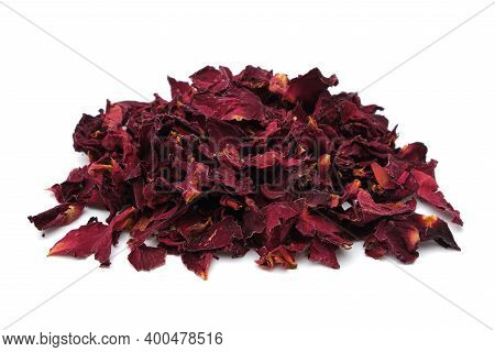 Pile Of Dried Healthy Rose Petals. Dry Red Rose Petals Heap On White.