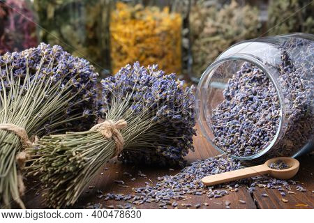 Glass Jar Of Dry Lavender Flowers, Bunches Of Dry Lavender. Jars Of Different Dry Medicinal Herbs On
