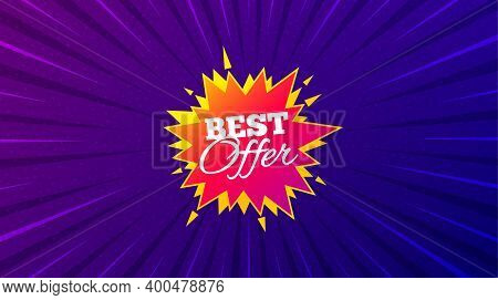 Best Offer Sticker. Purple Background With Offer Message. Discount Banner Shape. Sale Coupon Bubble