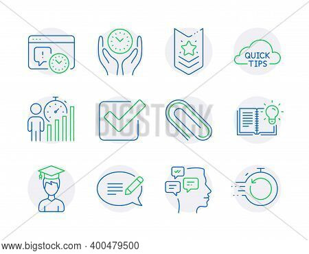 Education Icons Set. Included Icon As Project Deadline, Student, Messages Signs. Paper Clip, Safe Ti