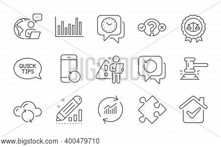 Bar Diagram, Recovery Data And Clock Line Icons Set. Update Data, Judge Hammer And Strategy Signs. Q
