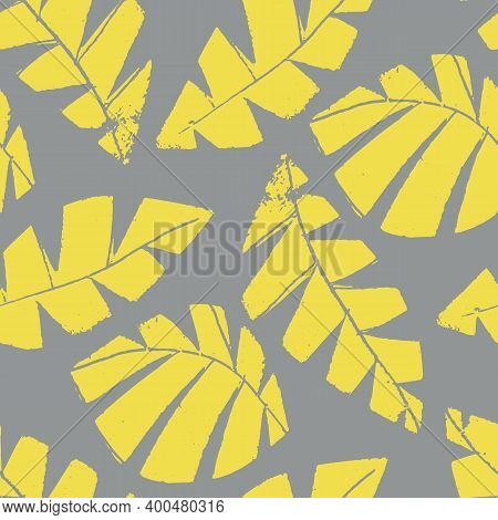 Mono Print Style Scattered Leaves Seamless Vector Pattern Background. Textured Cut Out Yellow Foliag