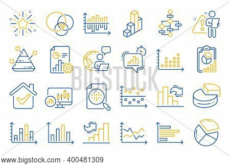 Charts And Diagrams Line Icons. Report, 3d Chart, Block Diagram And Dot Plot Graph Linear Icons. Tre