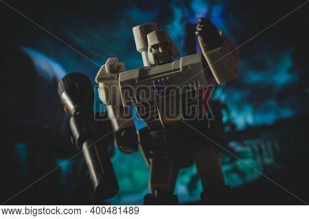 DEC 20 2020: Portrait of Decepticon leader Megatron of the Transformers - Hasbro Action Figure