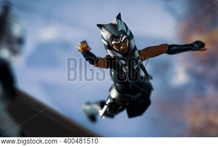 DEC 20 2020: Scene from Star Wars The Clone Wars Victory and Death with Jedi Ahsoka Tano in free fall during Order 66 - Hasbro Action Figure