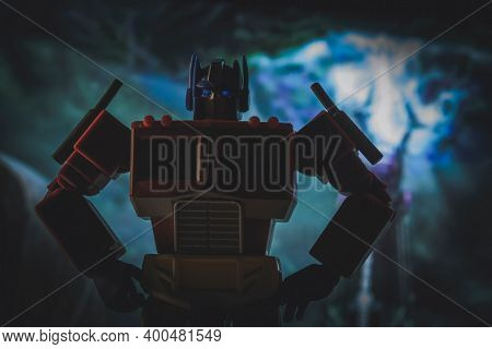 DEC 20 2020: Portrait of Autobot leader Optimus Prime from the Transformers - Hasbro Action Figure