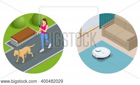 Isometric Robot Vacuum Cleaner Performs Automatic Cleaning Of The Apartment At A Certain Time. Woman