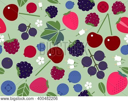 Seamless Pattern With Strawberries, Blueberries, Blackberries, Raspberries, Cherries And Black Curra
