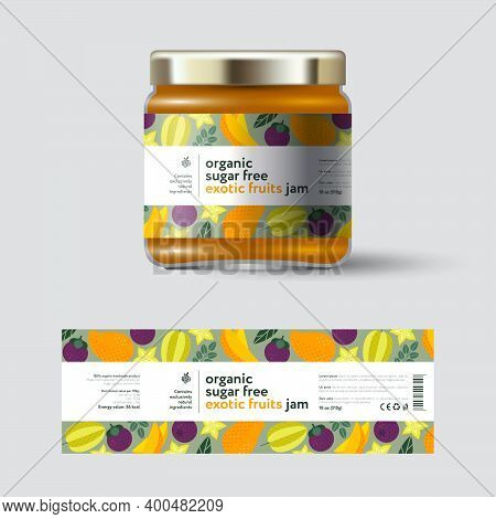 Mango, Star Fruit (carambola) And Mangosteen Exotic Fruits Jam Label And Packaging. Jar With Cap Wit