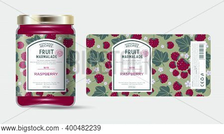 Label And Packaging Of Raspberry Marmalade. Jar With Label. Text In Frame With Stamp (sugar Free) On