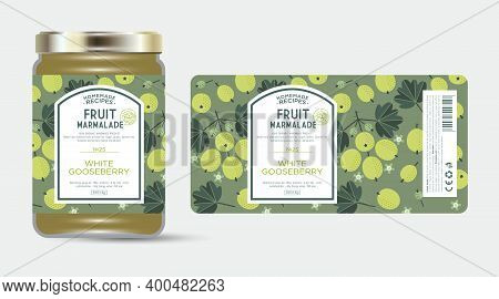 Label And Packaging Of White, Green Gooseberry Marmalade. Jar With Label. Text In Frame With Stamp (