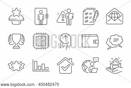 Text Message, Winner Podium And Winner Line Icons Set. Histogram, Web Mail And Money Wallet Signs. S