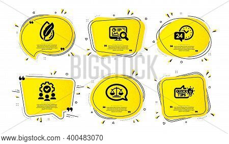 Hypoallergenic Tested, Teamwork And 24h Service Icons Simple Set. Yellow Speech Bubbles With Dotwork